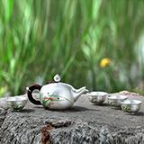 梦祥银手绘珐琅一枝春茶具套装
