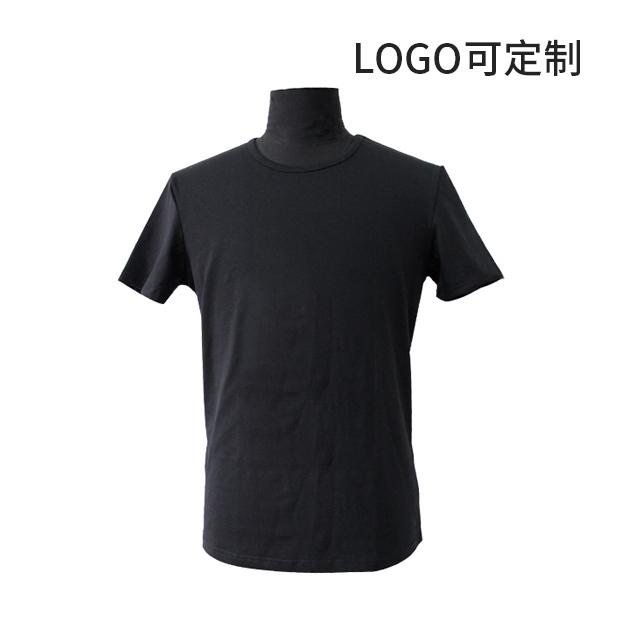 210g精梳氨纶棉黑色圆领T恤 logo可定制