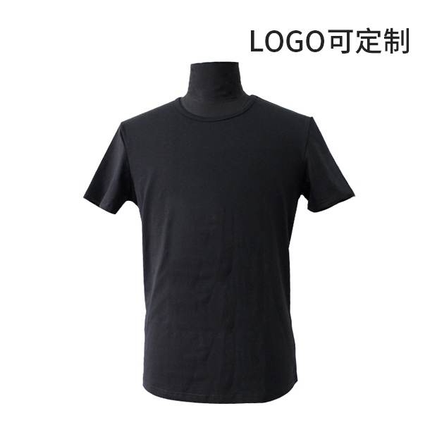 210g精梳氨綸棉黑色圓領T恤 logo可定制