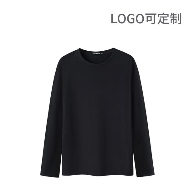 精梳圆领长袖T恤 Logo可国产在线视频超频