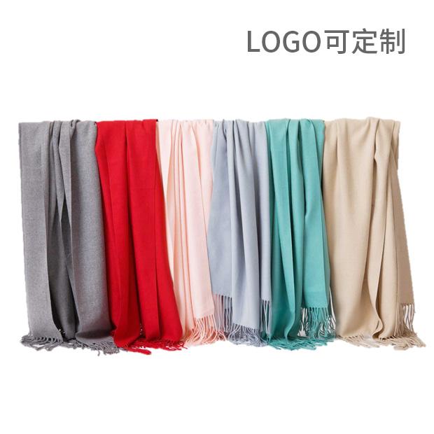 加宽围巾披肩两用木代尔多色围巾 保暖加厚纯色流苏 Logo可定制