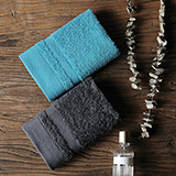 戴洛倫 雅仕長絨棉方巾套裝A(藍+深灰)DRON-MJ1002A