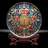 雅琅晶 双面雕刻 手工彩绘 五福临门 桌面摆件