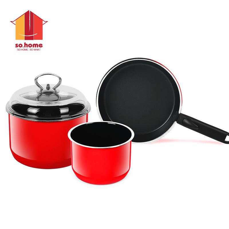 sohome 靚彩不銹鋼琺瑯鍋三件套 湯鍋奶鍋煎盤全爐具 紅色