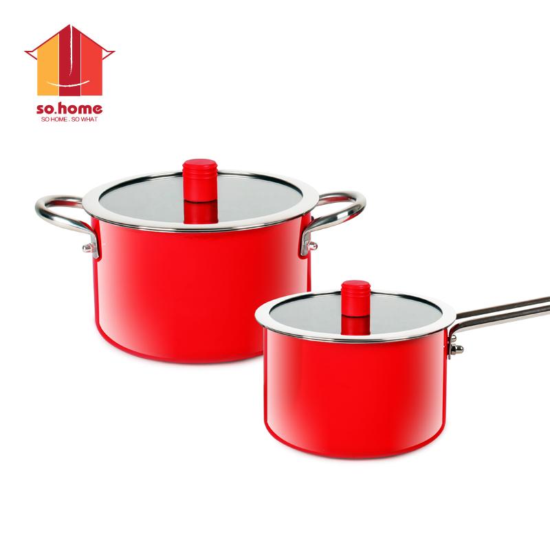 sohome 靓彩不锈钢珐琅锅两件套 汤锅奶锅全炉具 红色