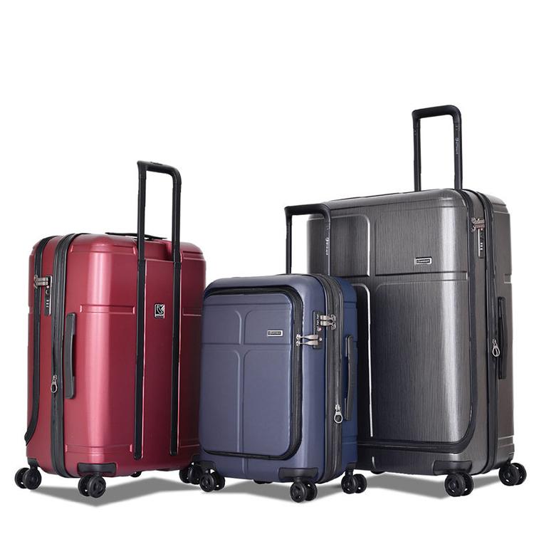 eminent雅士 可擴展行李箱拉鏈款男大容量皮箱拉桿箱女旅行商務箱 亮銀河紅 25寸