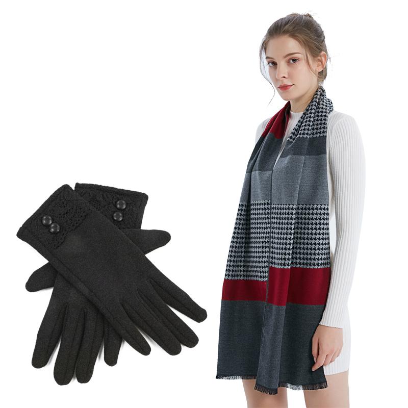 艾絲雅蘭竹韻優品圍巾手套套裝
