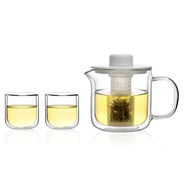 双层玻璃茶壶套装