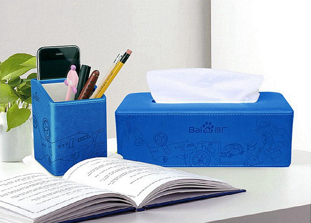 百度推广定制—PU办公笔筒、纸巾盒