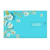 38节方形卡片U盘—蓝底白茶花U盘 可双面高清彩印