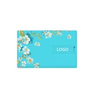 38節方形卡片U盤—藍底白茶花U盤 可雙面高清彩印
