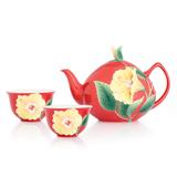 法蓝瓷 黄金岁月 扶桑花一壶两杯茶具组礼盒 FZ03041