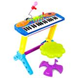 儿童37键电子琴 带麦克风 宝宝益智 婴儿音乐乐器玩具(蓝色)