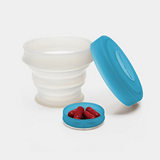 KOROVO/壳罗沃 蓝色便携硅胶水杯 JX8601 创意时尚折叠收纳杯 水杯药盒