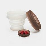 KOROVO/殼羅沃 棕色便攜硅膠水杯 JX8601 創意時尚折疊收納杯 水杯藥盒