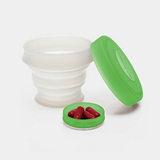 KOROVO/壳罗沃 绿色便携硅胶水杯 JX8601 创意时尚折叠收纳杯 水杯药盒