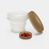 KOROVO/殼羅沃 卡其色便攜硅膠水杯 JX8601 創意時尚折疊收納杯 水杯藥盒