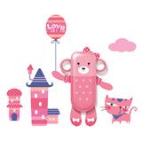 生活演异 花颜墙贴洗漱套装 粉红熊