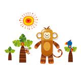 生活演异 花颜墙贴洗漱套装 野猴子