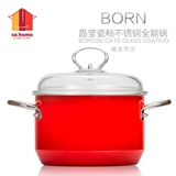 sohome晶瑩瓷釉不銹鋼湯鍋 醇紅