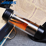 HAERS哈尔斯  上下双盖带茶格泡茶双层耐热玻璃水杯  350ml