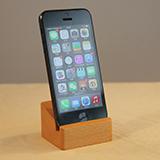 本来设计 实木手机座 方形ipad支架小饰物 原木支架手机架 方形黑