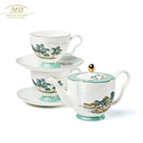 M20玛戈隆特 西湖盛宴中国风骨瓷6头莲蓬茶具套装