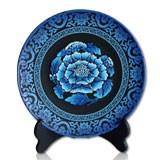 金烏炭雕青花芙蓉盤(小號)精雕工藝高端貴氣 收藏珍品商務禮品