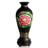 金烏炭雕富貴芙蓉玉堂春瓶 古典高雅藍色、紅色、金色 商務禮品