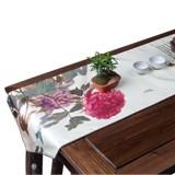 艾葉文化真絲藝術牡丹桌旗 復古真絲 創意家居禮品