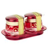 千聚焕彩调味盒两件套XC-W2T 高透白玻璃材质靓丽外形 厨房必备