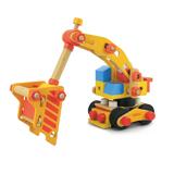 儿童节礼物木玩世家挖土机MMBL13003 积?#37202;?#25554;玩具