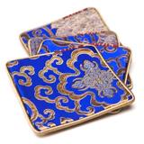 杭州造府富貴寶花杯墊(四只)傳統織錦藝術 收藏珍品商務禮品