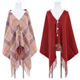 Glovin 设计款双面格子围巾披肩
