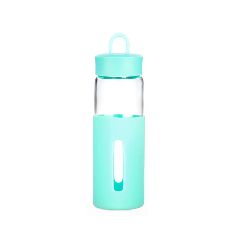 一水间 环保硅胶套玻璃提手杯