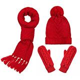Glovin 绞花超长三件套-围巾帽子手套