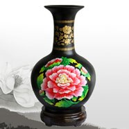 金乌炭雕富贵芙蓉天球瓶 高贵典雅雍容华贵红色  商务礼品