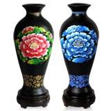 金乌炭雕富贵芙蓉玉堂春瓶(对瓶) 高贵典雅富贵蓝色、红色 新年礼品
