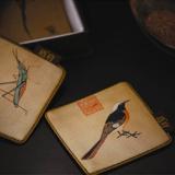 杭州造府珍禽图杯垫(四只)送领导客户|商务礼品|外事礼品|会议庆典礼品
